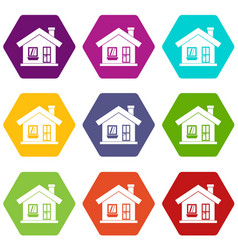one-storey house with a chimney icon set color vector image