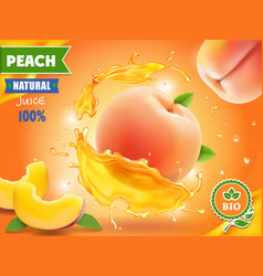 Peach juice realistic splash of juice advertising vector