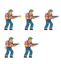 Red neck shooting sprite vector
