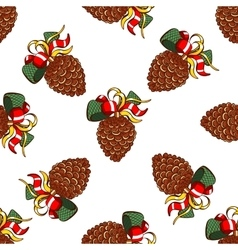 Seamless pattern fir cones vector