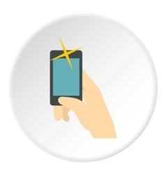 Selfie with smartphone icon flat style vector image
