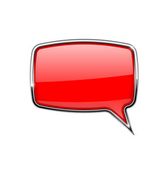 speech bubble square red 3d icon with chrome vector image vector image