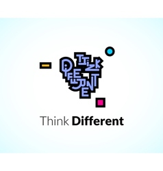 Think different phrase graffiti logo sign concept vector