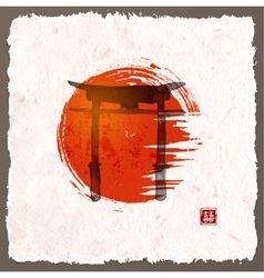 Torii gates and red rising sun vector