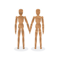 wooden mannequin-couple vector image