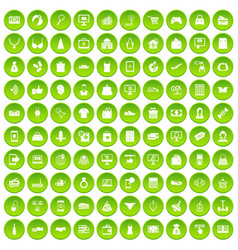 100 online shopping icons set green circle vector image