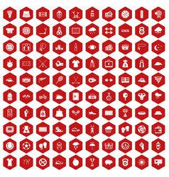 100 tennis icons hexagon red vector