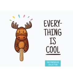 Cute moose popsicle  ice cream vector