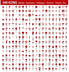 Red 300 universal web icons set with shadow vector