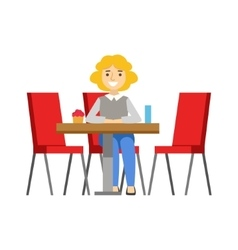 Woman alone at the table eating cupcake smiling vector