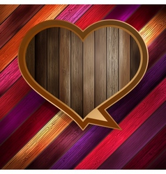 Colorful wooden heart on wood eps 10 vector