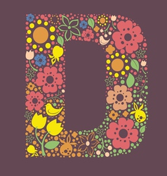 Ornamental floral letter d vector