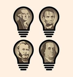 Four idea light bulbs that are us presidents vector
