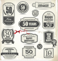 Anniversary retro badge and labels vector