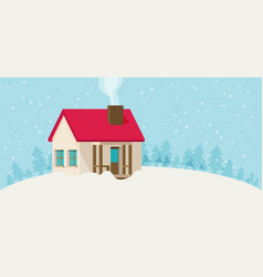Christmas card with house vector