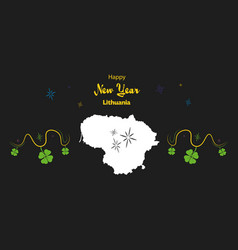 Happy new year theme with map of lithuania vector