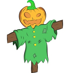 Scarecrow with a head pumpkins vector image