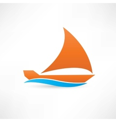 orange sailboat at sea icon vector image