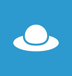 Woman hat icon white on the blue background vector