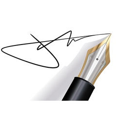 Signing with a fountain pen vector