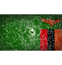 Flags zambia with broken glass texture vector