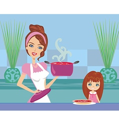 Mother serving tomato soup vector