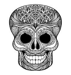 Decorative skull black doodle icon vector