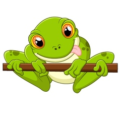 Cartoon frog holding tree vector image