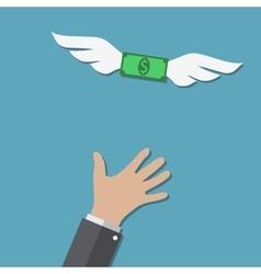 Dollar bill flying over hand vector image