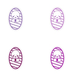 Set of stickers newborn girl on white background vector