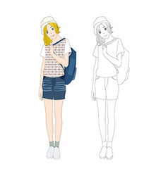 Girl denim fashion caucasian color no 3 vector
