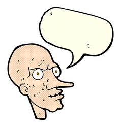 Cartoon evil old man with speech bubble vector