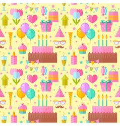 Festive birthday seamless pattern in flat style vector