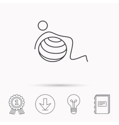 Gymnastic ball icon pilates fitness sign vector