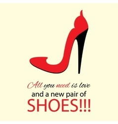 Womens high heel red shoes with text vector