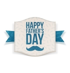 Happy fathers day festive banner with blue ribbon vector