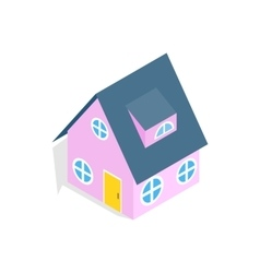 Pink house icon isometric 3d style vector