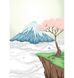a volcano mouth and a tree vector image