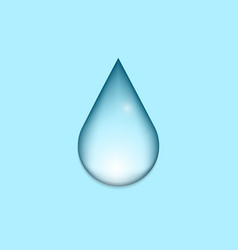 blue shiny water drop icon on blue background vector image