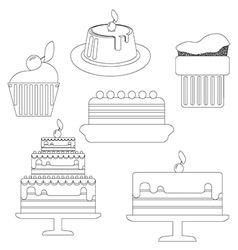 Card with six big cream layered cakes over a white vector image