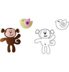 cartoon cute toy baby monkey and bird vector image vector image