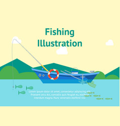 Cartoon fishing boat on landscape poster card vector