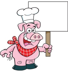 Cartoon pig wearing a chef hat and holding a sign vector image vector image