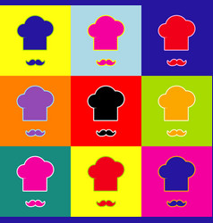 Chef hat and moustache sign pop-art style vector