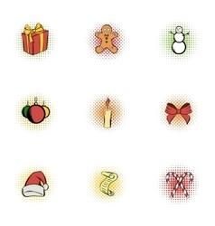 Christmas icons set pop-art style vector image vector image