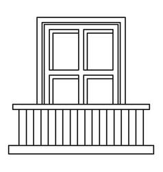classic balcony balustrade with window icon vector image vector image
