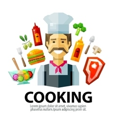 Cooking logo design template fresh food or vector