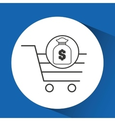 e-commerce cart shop bag money icon vector image vector image