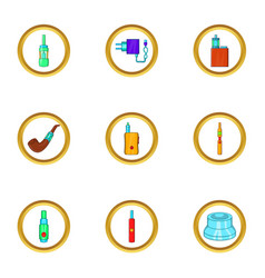 Electronic cigarette icon set cartoon style vector