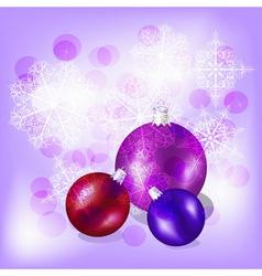 eps10 christmas balls on background with snowflake vector image